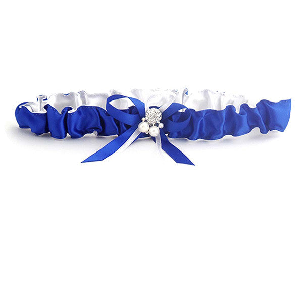 Royal Blue Satin Bride Wedding Garter With Pearl And