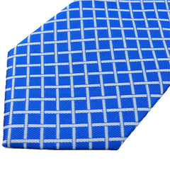 Mens Royal Blue Classic Plaid Tie, 4 Inches Wide Width - Gifts Are Blue - 3