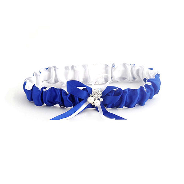 Royal Blue Satin Bride Wedding Garter with Pearl and Ribbon