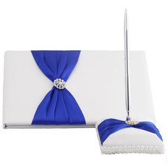 White Satin Wedding Guest Book and Pen Set With Royal Blue Sash - Gifts Are Blue - 1