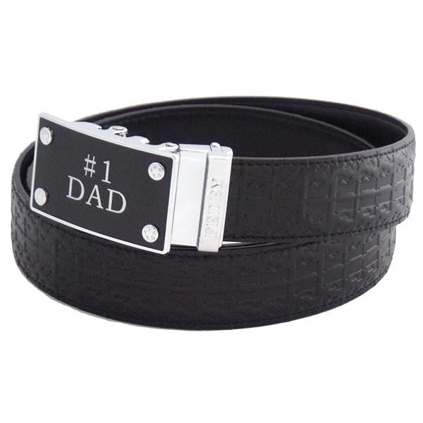 FEDEY Mens Ratchet Belt w No1 DAD Statement Buckle, Leather, Signature, Main, Black/Silver