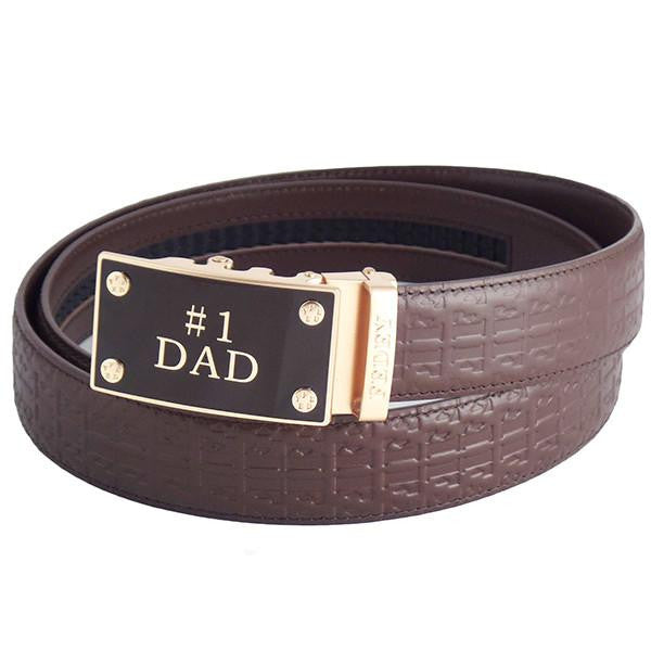 FEDEY Mens Ratchet Belt w No1 DAD Statement Buckle, Leather, Signature, Main, Brown/Gold