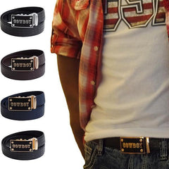 FEDEY Mens Signature Ratchet Leather COWBOY Buckle Statement Belt