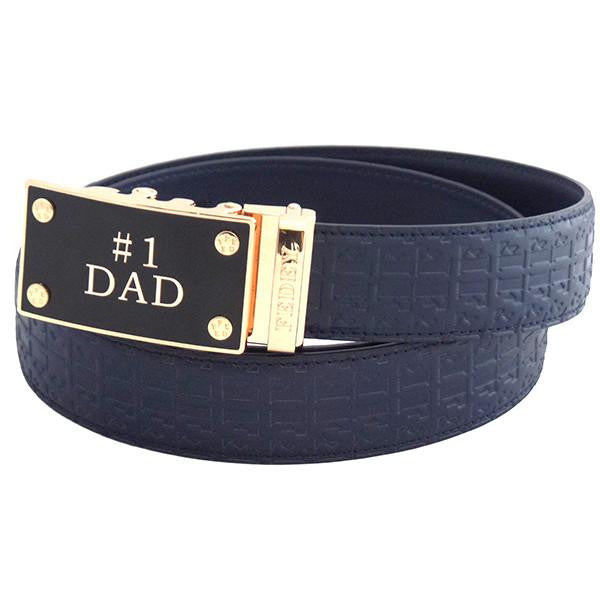 FEDEY Mens Ratchet Belt w No1 DAD Statement Buckle, Leather, Signature, Main, Blue/Gold