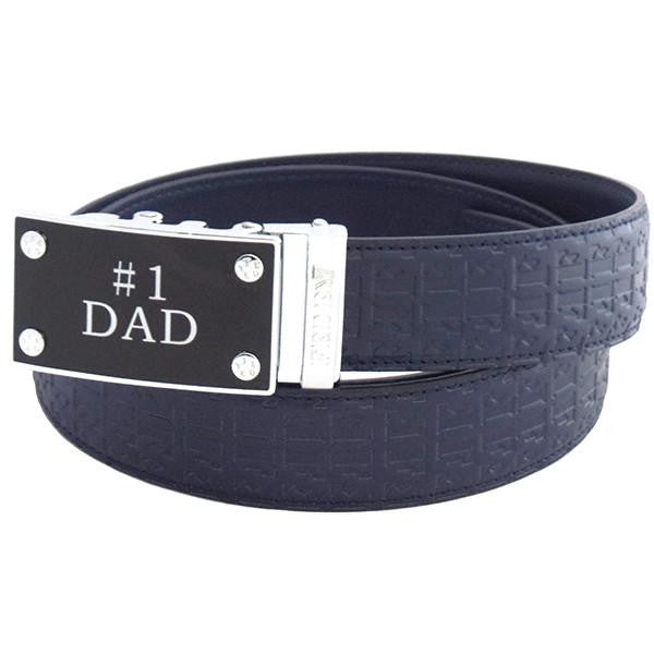 FEDEY Mens Ratchet Belt w No1 DAD Statement Buckle, Leather, Signature, Main, Blue/Silver