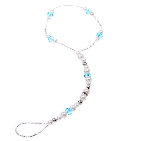 Silver and Turquoise Wedding Barefoot Sandals Anklet - Gifts Are Blue - 2
