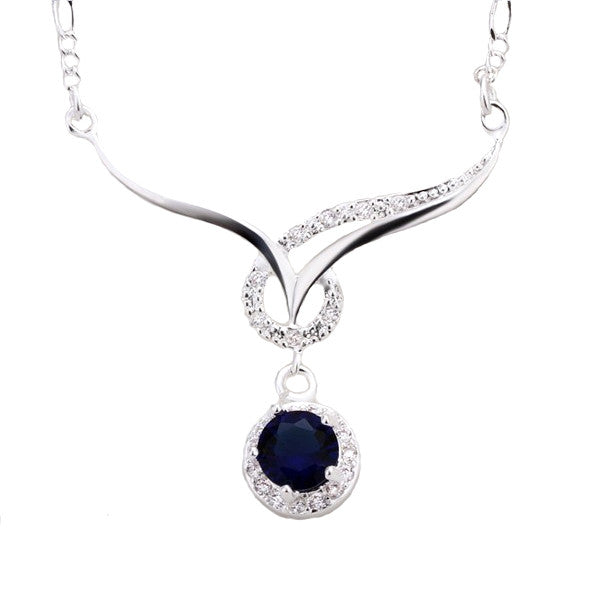 Elegant Silver-Plated Necklace with Blue Sapphire Cubic Zirconia