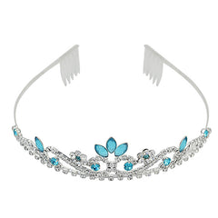 Silver Tiara with Crystals and Sky Blue Rhinestones - Gifts Are Blue - 1