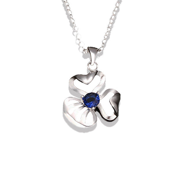Simple Elegance Silver-Plated Blue Crystal Pendant Necklace - Gifts Are Blue - 1