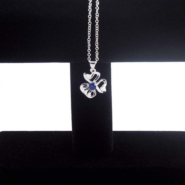 Simple Elegance Silver-Plated Blue Crystal Pendant Necklace - Gifts Are Blue - 3