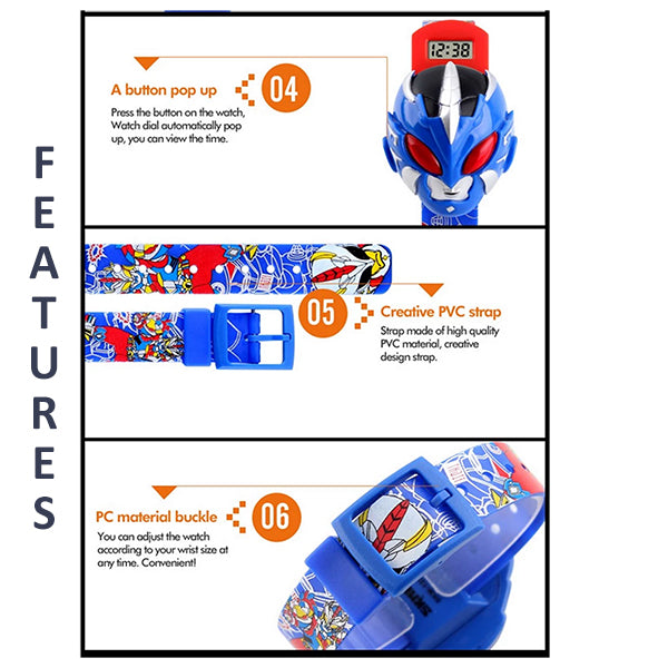 SKMEI Boys Cartoon Hero Digital Watch for Ages 3 to 7, 1239, Features 2, all SKUs