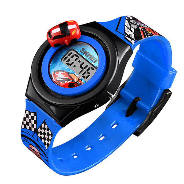 SKMEI Boys Digital Watch with Rotatable Car, Blue