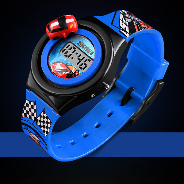 SKMEI Boys Digital Watch with Rotatable Car, Alt 2, Blue