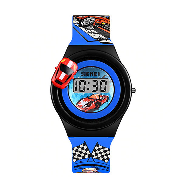 SKMEI Boys Digital Watch with Rotatable Car, 4 to 8 year olds, Main, Blue