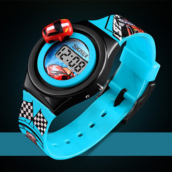 SKMEI Boys Digital Watch with Rotatable Car, Alt 2, Light Blue