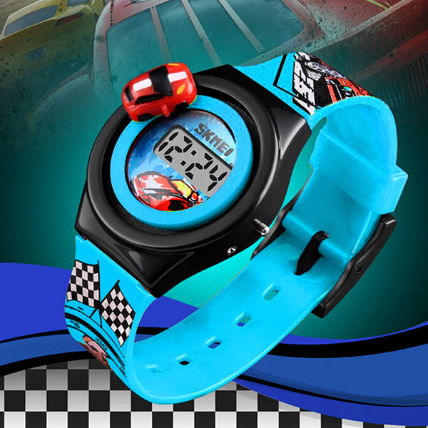SKMEI Boys Digital Watch with Rotatable Car, Alt 3, Light Blue