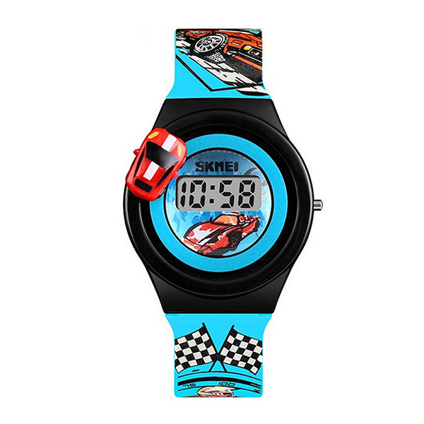 SKMEI Boys Digital Watch with Rotatable Car, 4 to 8 year olds, Main, Light Blue