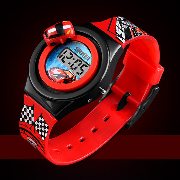 SKMEI Boys Digital Watch with Rotatable Car, Red