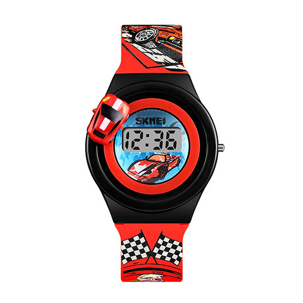 SKMEI Boys Digital Watch with Rotatable Car, 4 to 8 year olds, Main, Red