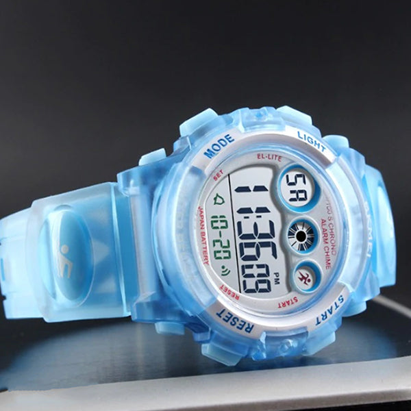 SKMEI Kids Digital Watch, 50M Waterproof, Sports, Light Blue