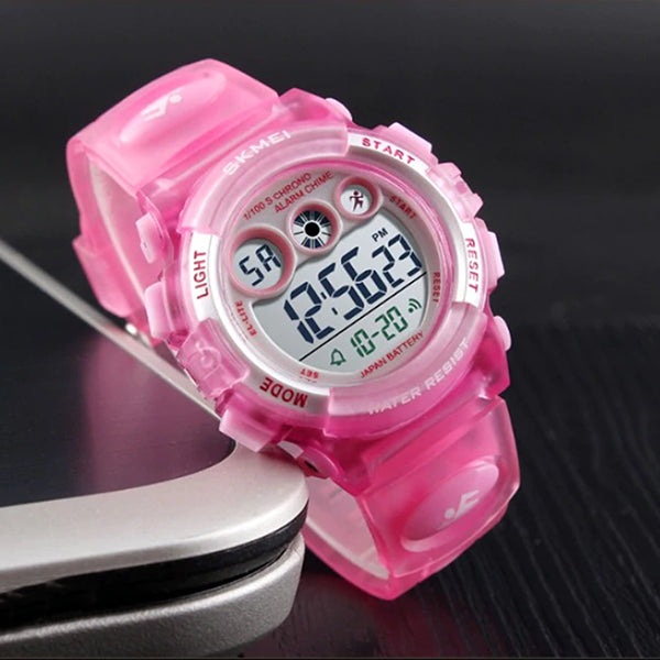 SKMEI Kids Digital Watch, 50M Waterproof, Sports, Light Pink