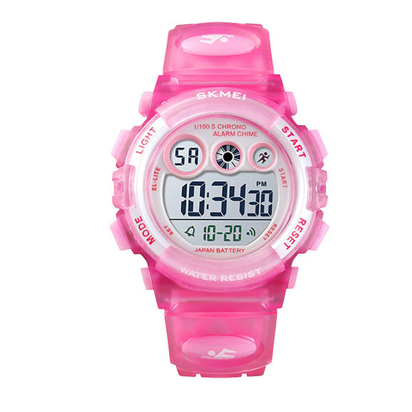 SKMEI Kids Digital Watch, 50M Waterproof, Sports, LED Light, Main, Light Pink
