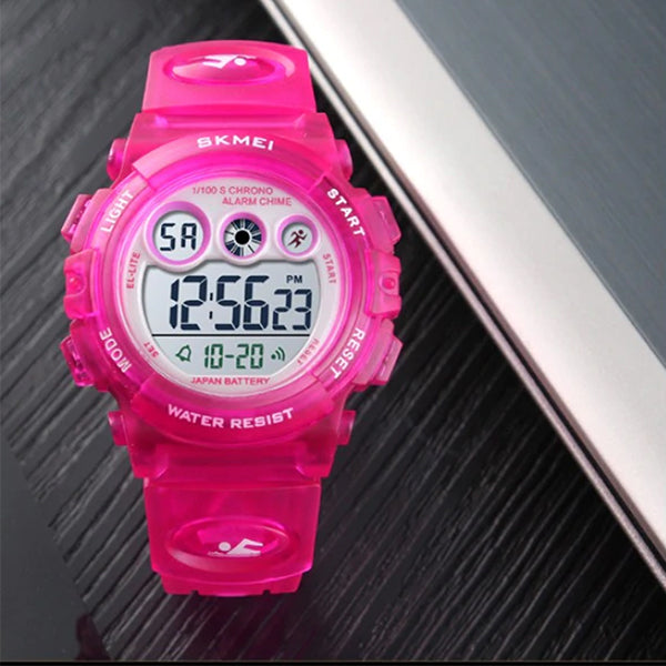 SKMEI Kids Digital Watch, 50M Waterproof, Sports, Rose Pink
