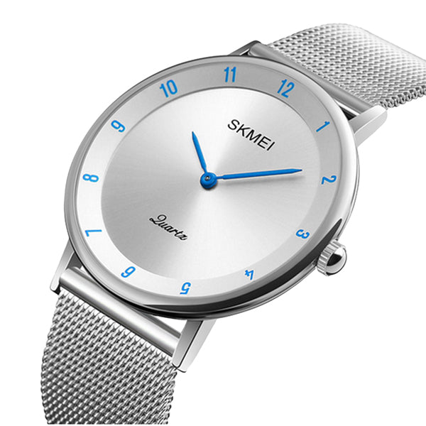SKMEI Mens Watch, Ultra Thin Design, Stainless Steel, Mesh Strap, Main, Blue/Silver