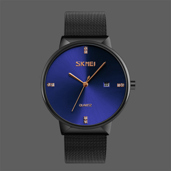 SKMEI Mens Ultra Thin Luxury Stainless Steel Watch, 30M Water Resistant, Alt1, Blue/Black