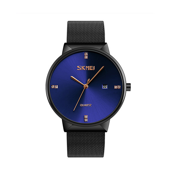 SKMEI Mens Ultra Thin Luxury Stainless Steel Watch, 30M Water Resistant, Main, Blue/Black