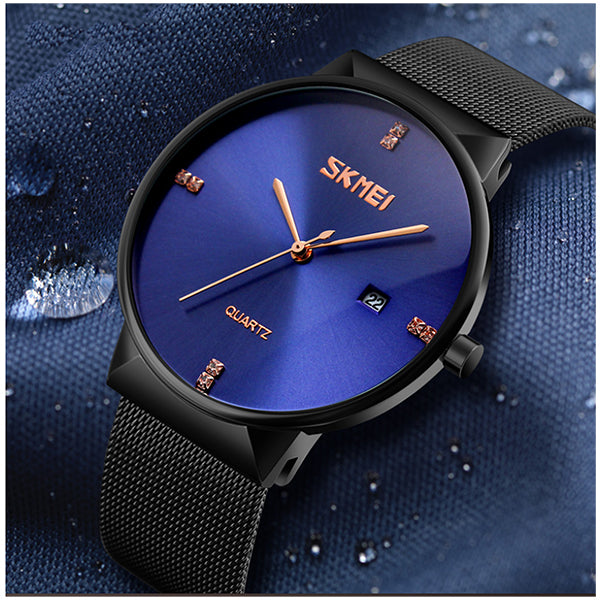SKMEI Mens Ultra Thin Luxury Stainless Steel Watch, 30M Water Resistant, Blue/Black