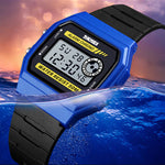 SKMEI Unisex LED Digital Sport Silicone Watch, 50M Water Resistant, Blue