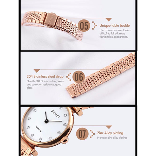 SKMEI Womens Elegant Fashion Watch w Rhinestones, features 3, all SKUs