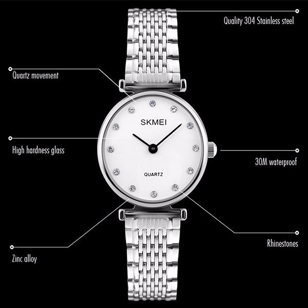SKMEI Womens Elegant Fashion Watch w Rhinestones, details, all SKUs