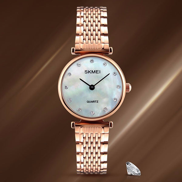 SKMEI Womens Elegant Fashion Watch w Rhinestones, Model, Rose Shell