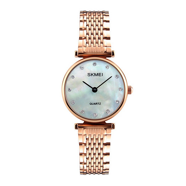 SKMEI Womens Elegant Fashion Watch w Rhinestones, 30M Waterproof, Main, Rose Gold/Shell