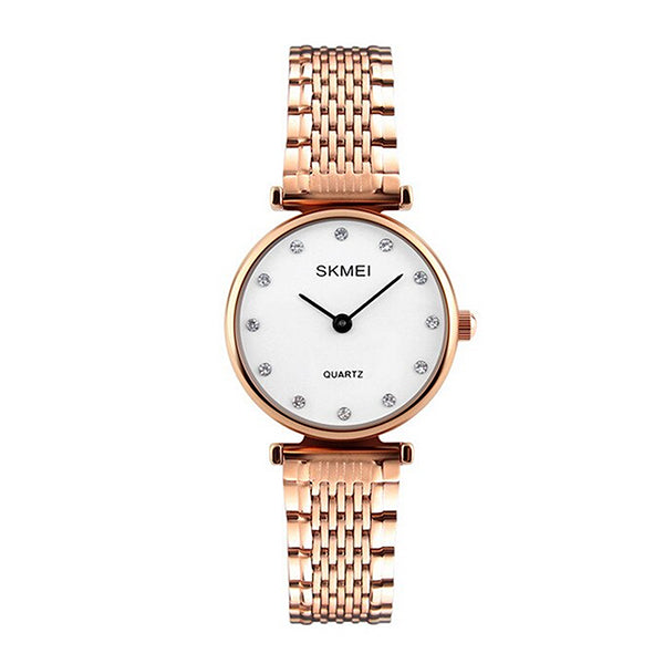 SKMEI Womens Elegant Fashion Watch w Rhinestones, 30M Waterproof, Main, Rose Gold/White