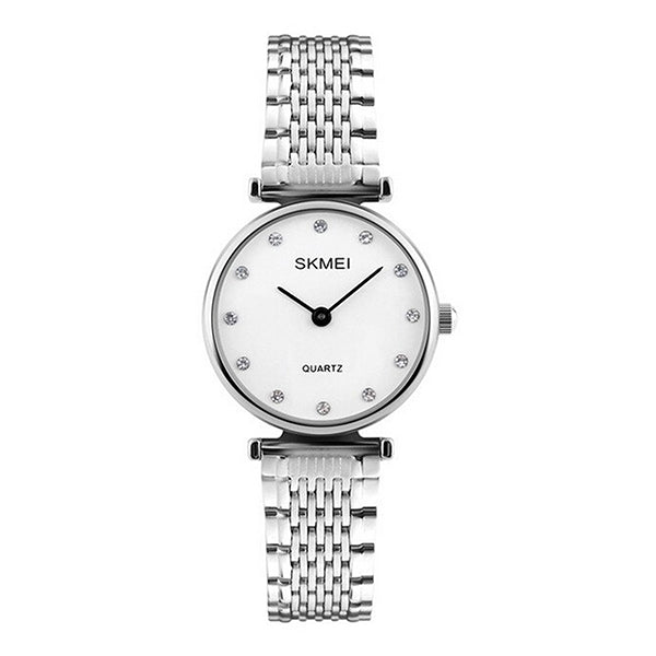 SKMEI Womens Elegant Fashion Watch w Rhinestones, 30M Waterproof, Main, Silver/White