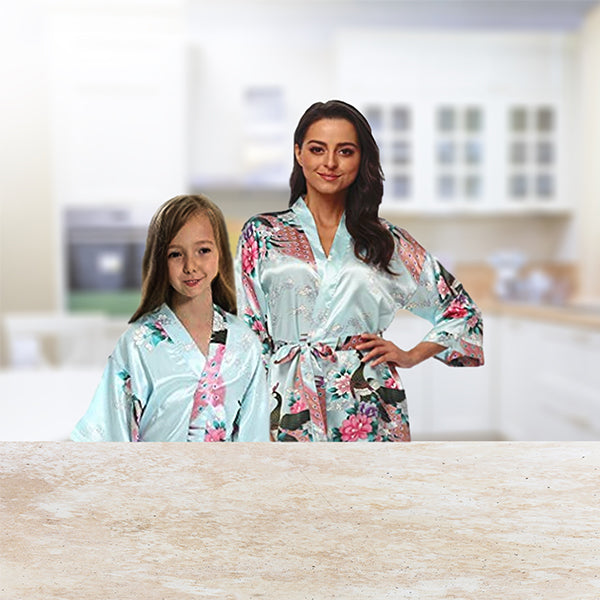 Light Blue Mommy & Me Robes, Floral, Lifestyle, all SKUs
