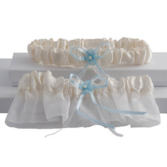 Sleek 2 Pc Bridal Garter Set, Ivory and Blue - Gifts Are Blue
