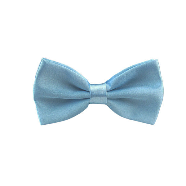Mens Smooth Satin Feel Formal Bow Tie, Pre-Tied - Gifts Are Blue - 1
