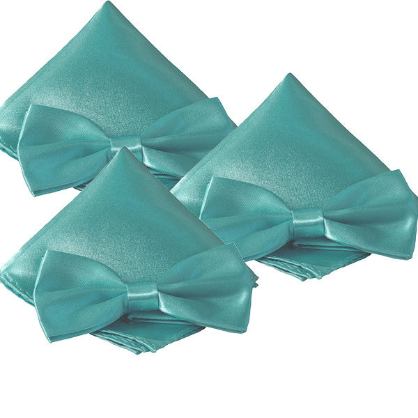 Mens Smooth Satin Feel Formal Pre-Tied Bow Tie and Pocket Square Sets - Gifts Are Blue - 7