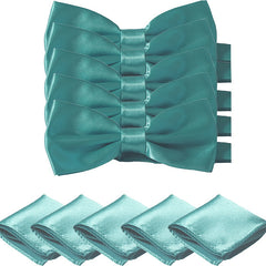 Mens Smooth Satin Feel Formal Pre-Tied Bow Tie and Pocket Square Sets - Gifts Are Blue - 8