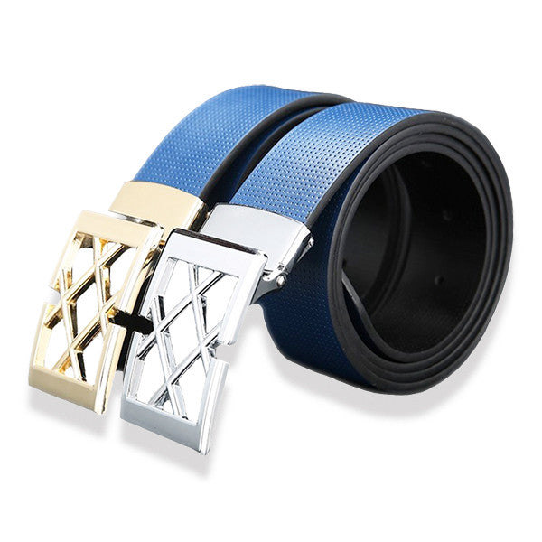 Mens Solid Blue Designer Genuine Leather Belt with Removable Buckle - Gifts Are Blue - 1