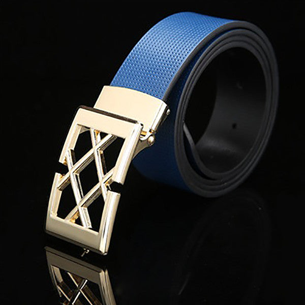 Mens Solid Blue Designer Genuine Leather Belt with Removable Buckle - Gifts Are Blue - 3