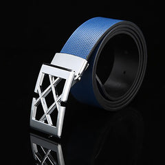 Mens Solid Blue Designer Genuine Leather Belt with Removable Buckle - Gifts Are Blue - 4