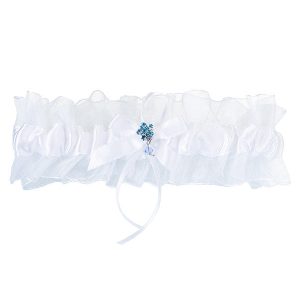 Something Blue Wedding Garter - White and Blue - Gifts Are Blue