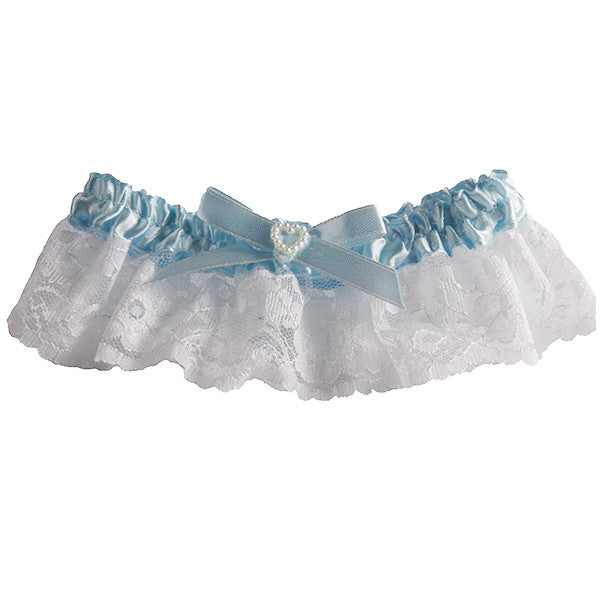 Something Blue White Lace Wedding Garter with Pearls - Gifts Are Blue