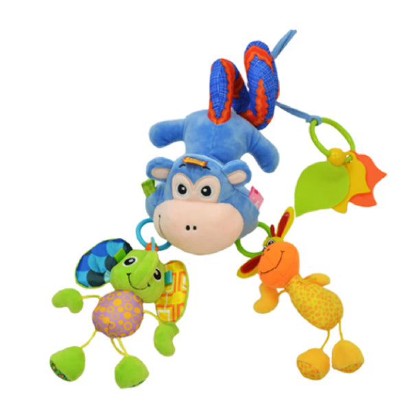 Sozzy Plush Baby Toy Hanging Monkey for Crib or Stroller, Flat
