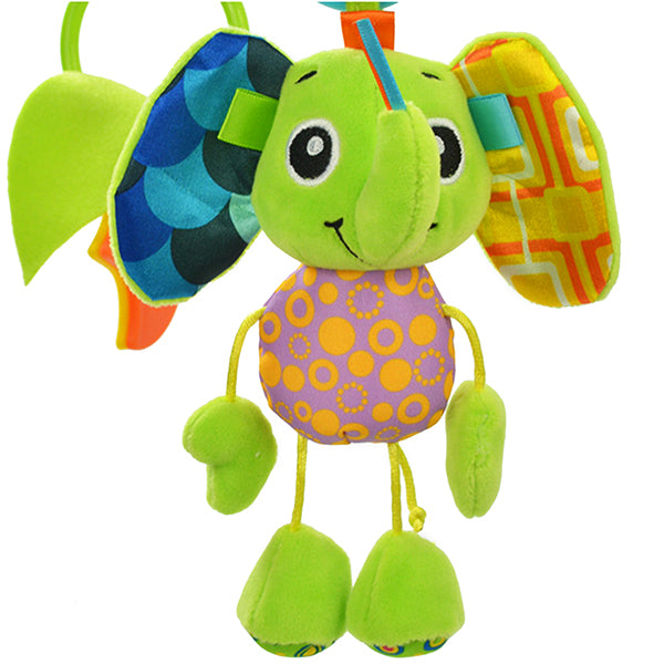 Sozzy Plush Baby Toy Hanging Monkey for Crib or Stroller, Smiling Elephant